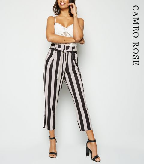 5af927042df ... Cameo Rose Black Stripe High Waist Trousers ...