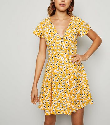 Cameo Rose Yellow Floral Button Up Dress