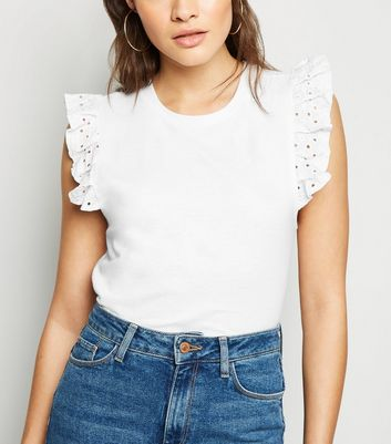 Cameo Rose White Broderie Sleeve T-Shirt