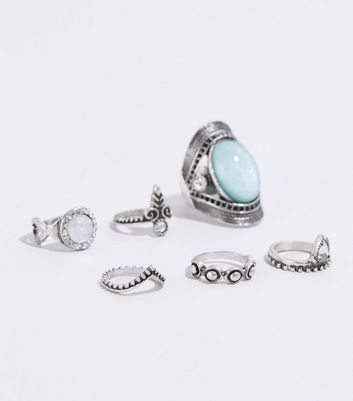 6 Pack Silver Turquoise Effect Stone Ring