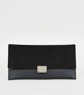 Black Leather-Look Suedette Clutch Bag