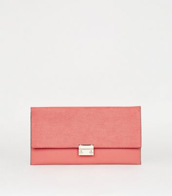 shop for Coral Leather-Look Suedette Clutch Bag New Look Vegan at Shopo
