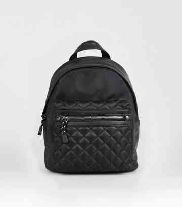 Black Quilted Pocket Mini Backpack