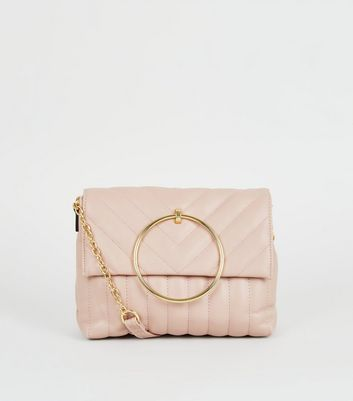 Nude Quilted Ring Handle Bag