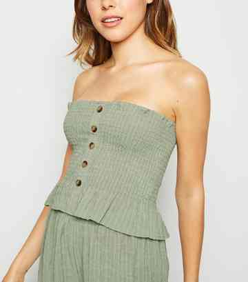 Olive Shirred Peplum Bandeau Top