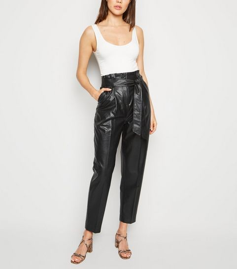523f7f1d4 Black Leather-Look Tie Waist Paperbag Trousers ...