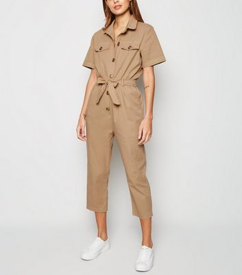 Urban Bliss Camel Button Up Belted Jumpsuit