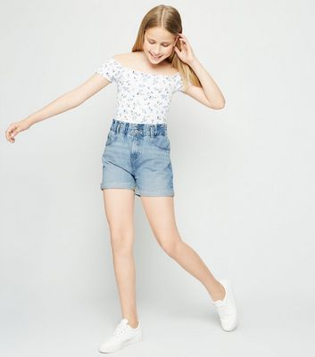 Girls Pale Blue Denim Paperbag Shorts