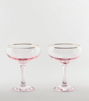 2 Pack Pale Pink Saucer Glasses