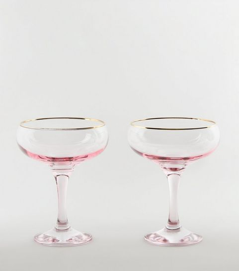 2 Pack Pale Pink Saucer Gles
