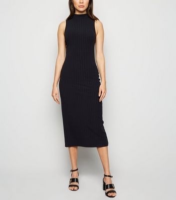 Black Ribbed High Neck Midi Bodycon Dress