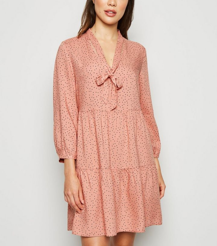 Pink Spot Tie Neck Smock Dress Add to Saved Items Remove from Saved Items