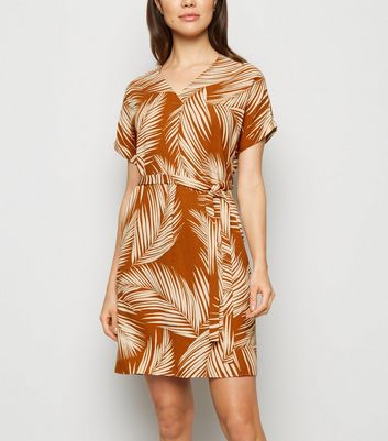 Brown Palm Print Belted Tunic Dress