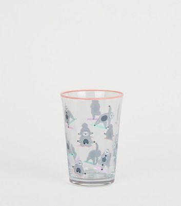 Clear Sloth Yoga Print Tumbler Glass