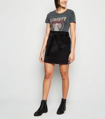 Black Corduroy Paperbag Mini Skirt