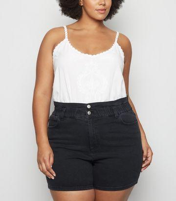 Curves Black Paperbag Denim Shorts