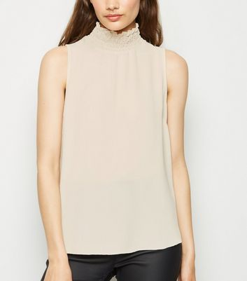 Off White Shirred High Neck Sleeveless Blouse