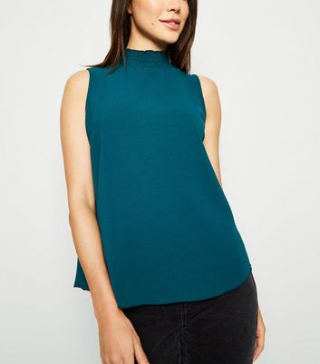 Dark Green High Neck Sleeveless Blouse