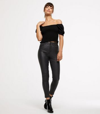 a474bf831 Shoptagr | Black Coated 'lift & Shape' Skinny Jeans by New Look
