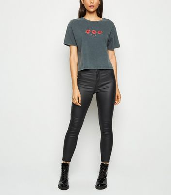 Black Leather-Look Super Skinny Hallie Jeans