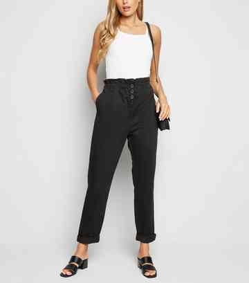 Black High Waist Paperbag Trousers