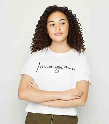 Girls White Imagine Slogan T-Shirt