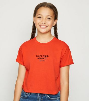 Girls Red Do It Embroidered Slogan T-Shirt