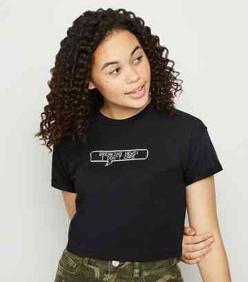 Girls Black Breaking News Slogan T-Shirt