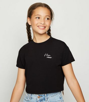 Girls Black Embroidered Hun Slogan T-Shirt