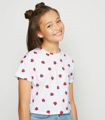 Girls White Strawberry Print T-Shirt