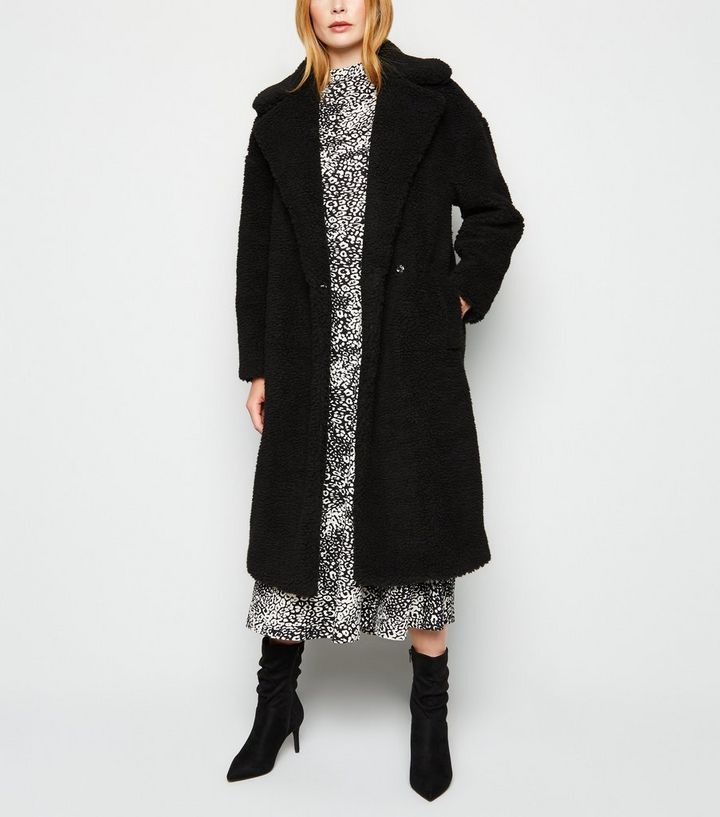 2018 shoes cheap price biggest discount Black Teddy Maxi Coat   New Look