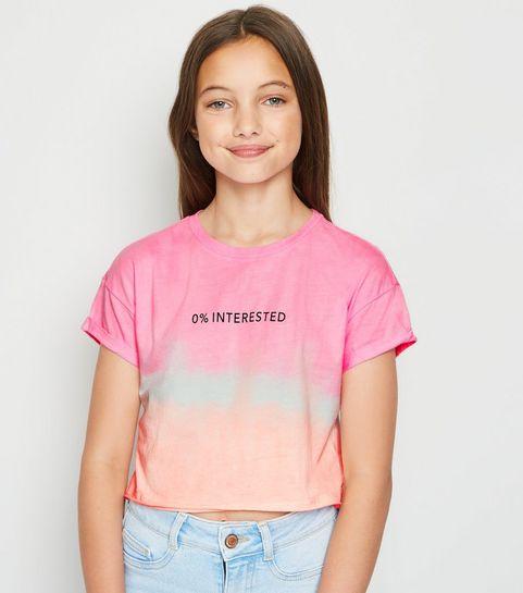 1cfd098c93 ... Girls Pink Tie Dye 0% Interested Slogan T-Shirt ...