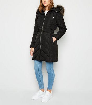 Black Belted Longline Coat | New Look