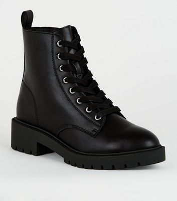 Girls Black Leather,Look Lace Up Boots