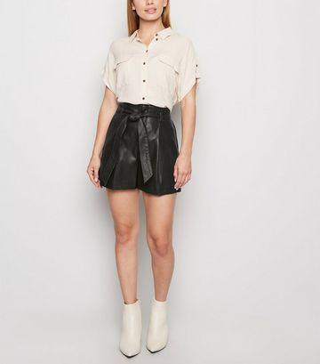 Petite Black Leather-Look Paperbag Shorts