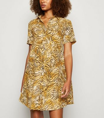 Maternity Brown Tiger Print Shirt Smock Dress