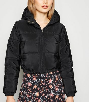 Black Hooded Crop Puffer Jacket