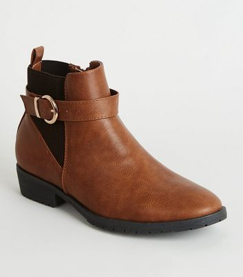Girls Tan Leather-Look Chelsea Boots
