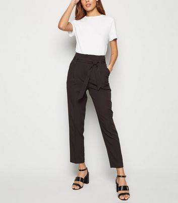 Black Belted Paperbag Trousers by New Look