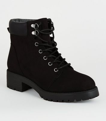 Girls Black Suedette Lace Up Boots