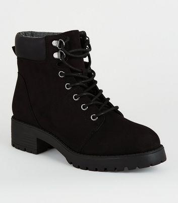 Girls Black Suedette Lace Up Boots