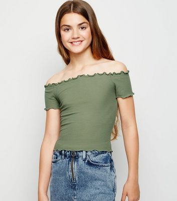 Girls Olive Ribbed Frill Trim Bardot Top