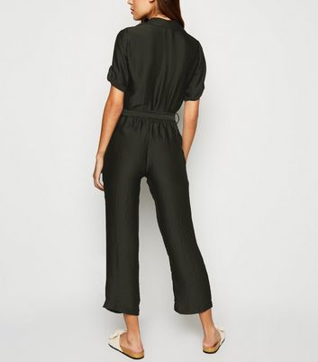 Innocence Black Satin Belted Boiler Suit New Look