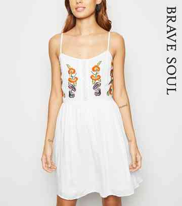 Brave Soul White Floral Embroidered Dress