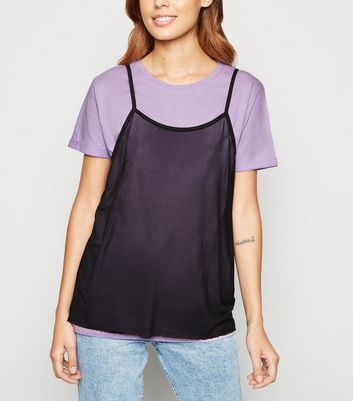 Brave Soul Lilac 2 In 1 Cotton Mesh Top