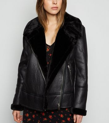 Black Leather-Look Aviator Jacket
