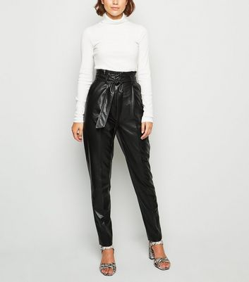 Tall Black Leather Look Paperbag Trousers by New Look