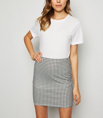 Black Gingham Scuba Tube Skirt