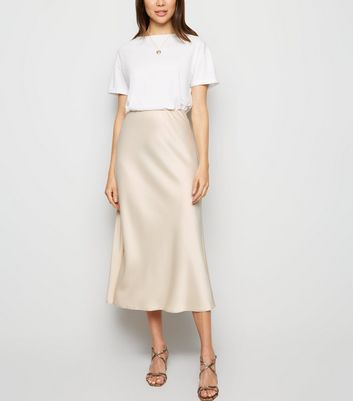 Stone Satin Bias Cut Midi Skirt