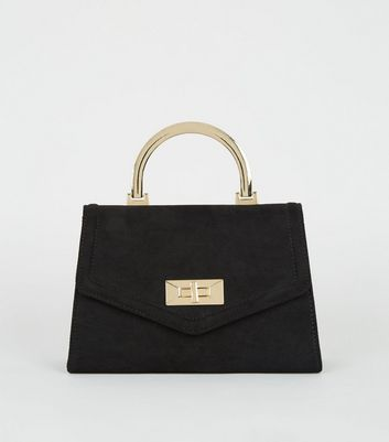 Black Suedette Top Handle Shoulder Bag